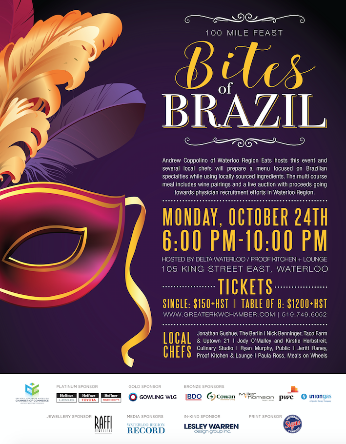 Bites of Brazil Greater KW Chamber of Commerce Kitchener Waterloo Events Local Chefs