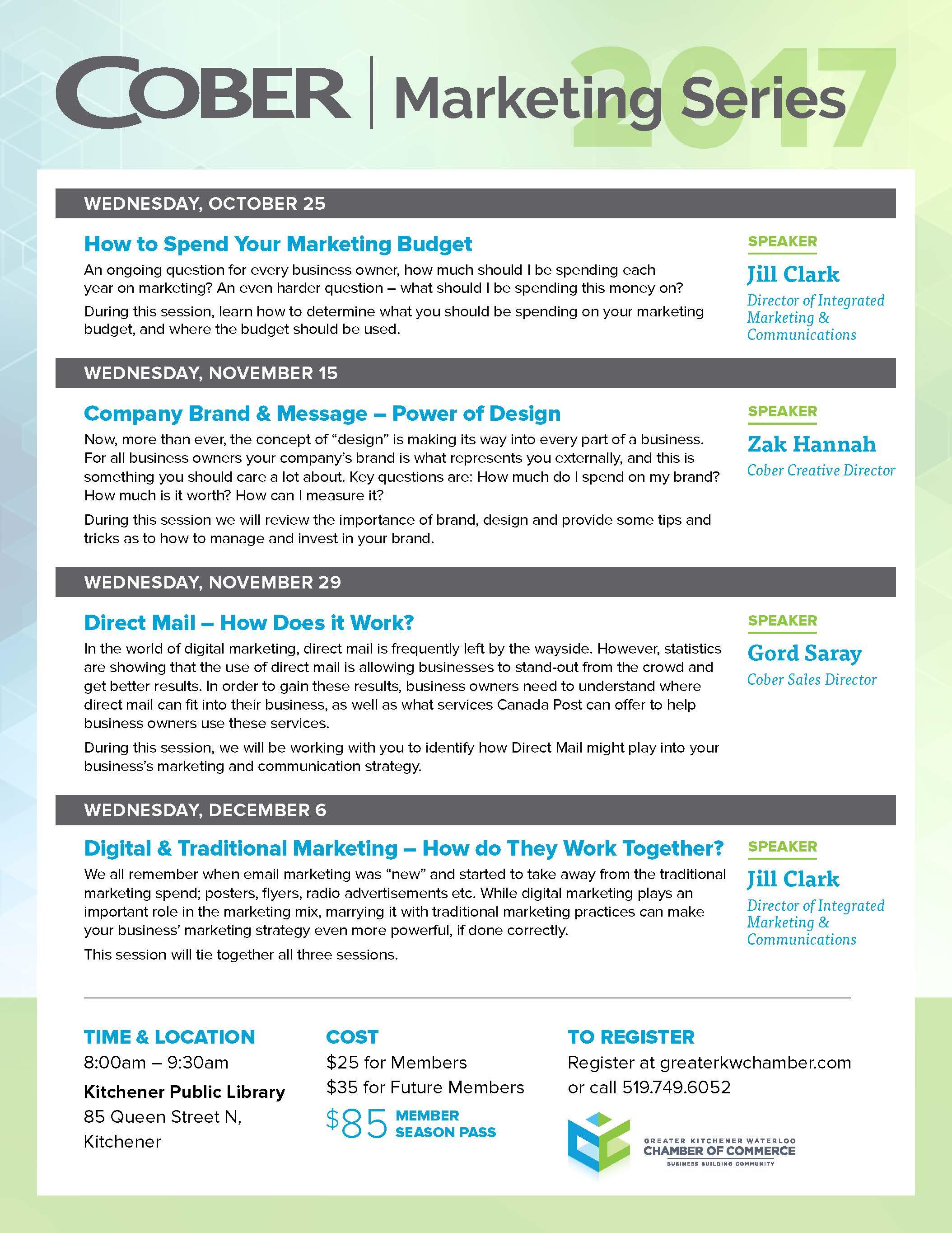 Cober Marketing Series - Chamber of Cmerce KW